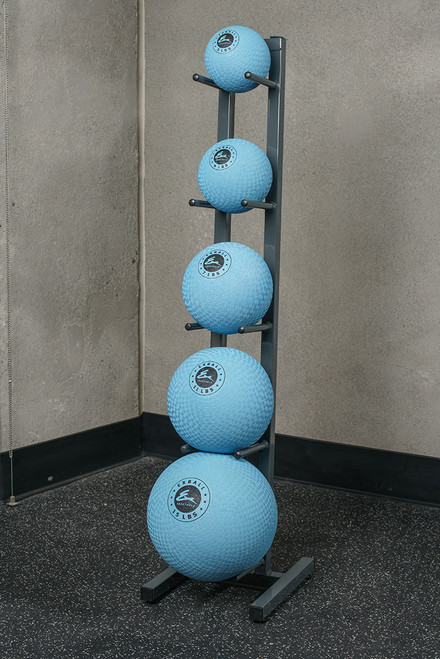 Package includes  one vertical stand and set of 5 Soft Shell, gel-filled EXBalls SS.  Weights are 2, 4, 7, 11,  and 15 pounds.