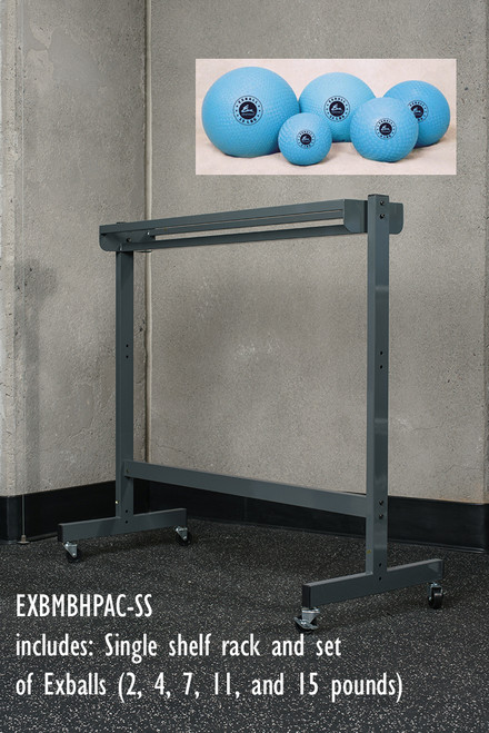 Package includes single-tier Horizontal rack and a set of  5 air filled, weighted EXBALL ss.