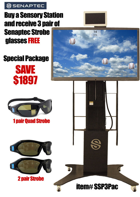 package includes Sensory Station, 2 Strobe Glasses and 1 Quad Strobe