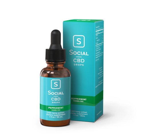 Social CBD Drops, 30mL, Peppermint, 1000mg (35834)