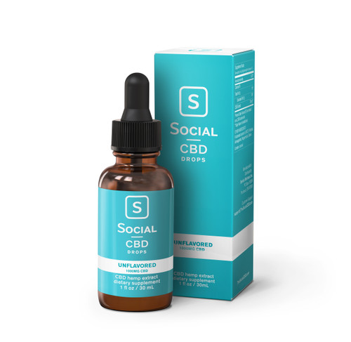Social CBD Drops, 30mL, Unflavored, 1000mg (35858)