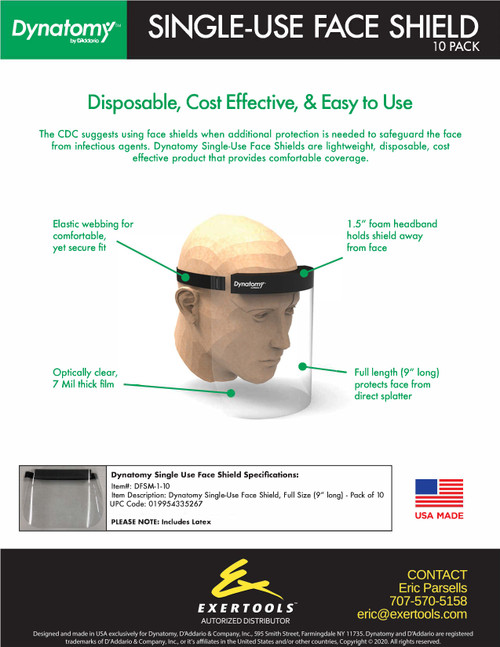 SINGLE-USE FACE SHIELDS (10 pack)