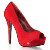 Red Bella-12R, Rhinestones Platform Peep Toe Pump | Bordello Shoes
