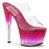 Stripper Shoes   Stardust-702-2, 7 inch Two Band Slide with Rhinestones