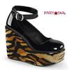 Poison-03, 5 inch print wedge platform Shoes Demonia