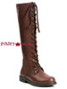 1031| 151-Karina, Brown 1 inch Lace up Knee High Boots,COSTUME BOOTS