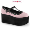 Click-07. 3.25 Inch Two Tone T-Strap Maryjane with Studs Color: B.P Canvas/Blk V. Le