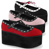 Demonia Women Shoes | Click-07. 3.25 Inch Two Tone T-Strap Mary Jane with Studs. Color available: Red Canvas-BW Vegan Leather, Blk Canvas-Wht Vegan Leather, Baby Pink Canvas/Blk Vegan leather, Red Canvas-Blk Vegan Leather Size 6 - 11