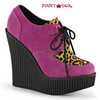 Creeper-304, 5.25 Inch Wedge Creeper with Leopard Print Color Hot Pink Vegan Suede-Leopard Printed Pony Hair