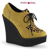 Creeper-304, 5.25 Inch Wedge Creeper with Leopard Print Color Mustard Vegan Suede-Leopard Printed Ponly Hair