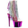 Adore-1017RSF, Multi Color 7 Inch High Heel Open Toe with Colorful Fringe Boots