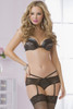 STM-10583, 2pc Perforated Lame and Lace Bra and Panty Set