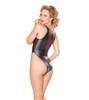 Rave Foiled Denim Lace-up Bodysuit | JV FF412 color Ombre Denim back view