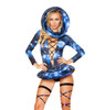 Rave Lace- Up Long Sleeve Romper | Roma R3269 color Galaxy full view with accessories