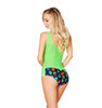 R-3275, Geometric Two Tone Romper color grass back view