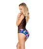 R-3275, Geometric Two Tone Romper color electric back view