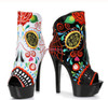 """609-Amiens, 6"""" Day Of The Dead Ankle Boots Ellie Shoes 