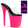 Stripper Shoes Flamingo-801UVG, 8 Inch Stiletto Heel UV Reactive Mini Glitters Platform Slide