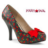 Pinup-05 Women Pumps Plus Size 9-16 color Black-Red Cherry Faux Leather | Pink Label