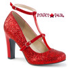 Pink Label Queen-01 color Red Glitter by Pleaser USA