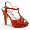 Red Bettie-23, Peep Toe T-Strap Sandal Pin-Up Couture Shoes