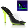 Poise-501UV, 5 Inch Heel Slide with Neon Lime UV Bottom by Fabulicious