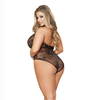 LI162X, 1 PC. Lace Teddy with a low-cut plunge front Back View