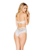 Roma | R-3420, Cutout Romper with Zipper Color white back view