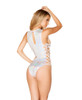 Rave Romper Side Lace up   Roma R-3429 color white back view