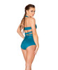 JV-FF693, Faux Suede High-Waist Short color teal back view