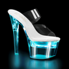 Flashdance-702, 7 Inch High Heel Double Band Mule with Lite-Up Platform