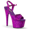 Pleaser   Adore-710LG, 7 Inch Ankle Strap Sandal with Holographic Glitter