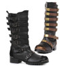 158-Punk, 1.5 Inch Knee High Boots with Multi-Buckles