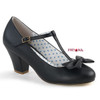 Wiggle-50, Black Cuben Heel T-strap Pump | Pin-Up Couture