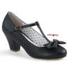 Wiggle-50, Black Cuben Heel T-strap Pump | Pin-Up Couture