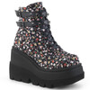 Shaker-52ST, Gothic Wedge Ankle Boots with Flower Design by Demonia