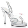 Flair-457, 4.5 Inch Heel Slingback Sandal with Rhinestones