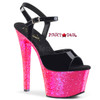 Pleaser Shoes | Sky-309UVLG, Ankle Strap Sandal with Reactive Glitter Platform