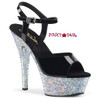 Kiss-209LG, 6 Inch Ankle Strap Sandal with Silver Glitter Platform