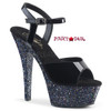 Kiss-209LG, 6 Inch Ankle Strap Sandal with Black Glitter Platform Pleaser Shoes