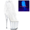 White 8 Inch Heel Open Toe/Back Ankle Boots with Marabou Fur Fringe