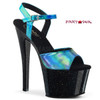 Pleaser Clearance | Sky-309HG, Holographic Exotic Dancer Shoes, Turquoise/Black