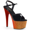 Adore-709Ombre, 7 Inch Heel Sandal with Glitter Ombre Effect Platform color rose gold