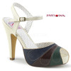 Bettie-27, 4.5 Inch Peep Toe Ankle Strap Sandal color Cream Multi Faux Leather