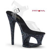 Moon-708LG, 7 Inch High Heel Cut-Out Platform Ankle Strap Sandal with Glitters color black