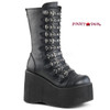 Kera-50, 4.5 Inch Platform Strappy Mid Calf Boots color black faux leather