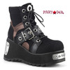 Scene-53, 3.5 Inch Ankle Boots with Buckle Women Demonia Boots