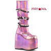 Slay-301, 7 Inch Platform Knee High Boots with Patch Design