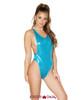Rave Low Cut Bodysuit | Roma R-3549 Color Turquoise