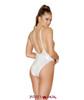 Rave Low Cut Bodysuit | Roma R-3549 Color White back view